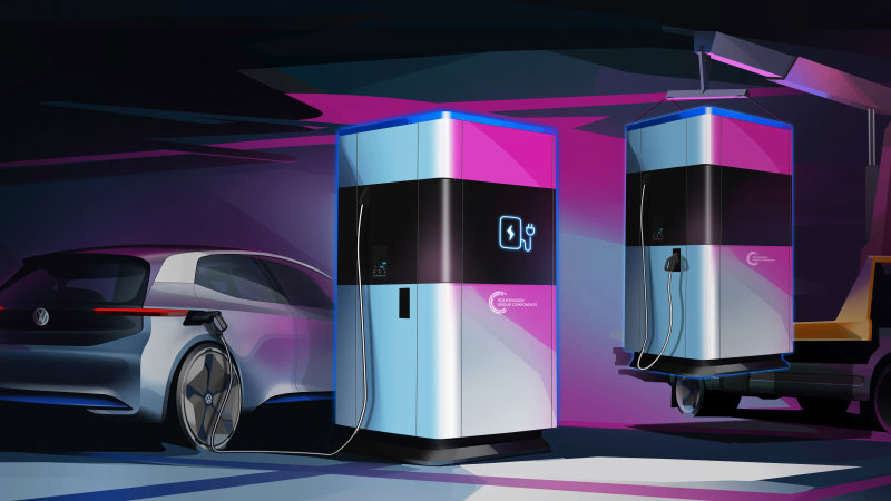 Volkswagen powering up for EV onslaught with preview of 360-kWh mobile quick chargers
